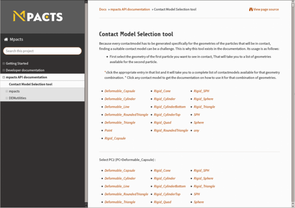 Contact model selector tool in the redesigned documentation